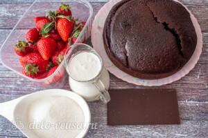 Шоколадный торт с клубникой и сливками: Ингредиенты