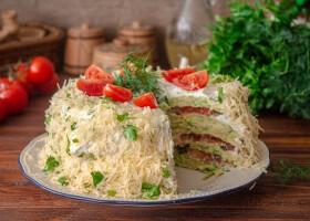 Рецепт кабачковый торт с помидорами и сыром