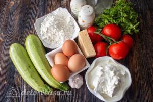 Кабачковый торт с помидорами и сыром: Ингредиенты
