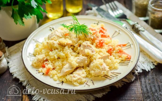 Кускус с курицей на сковороде