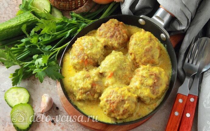 Мясные тефтели с булгуром в сливочно-молочном соусе: фото блюда приготовленного по данному рецепту