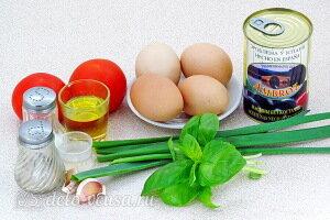 Омлет по-итальянски с помидорами и базиликом: Ингредиенты