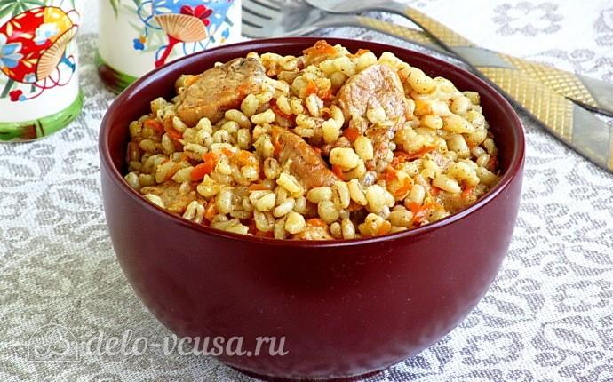 Перловая каша со свининой в мультиварке: фото блюда приготовленного по данному рецепту