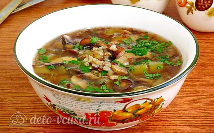 Рецепт постный гречневый суп с грибами