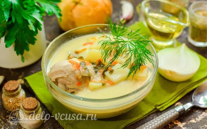 Сырный суп с курицей и щавелем
