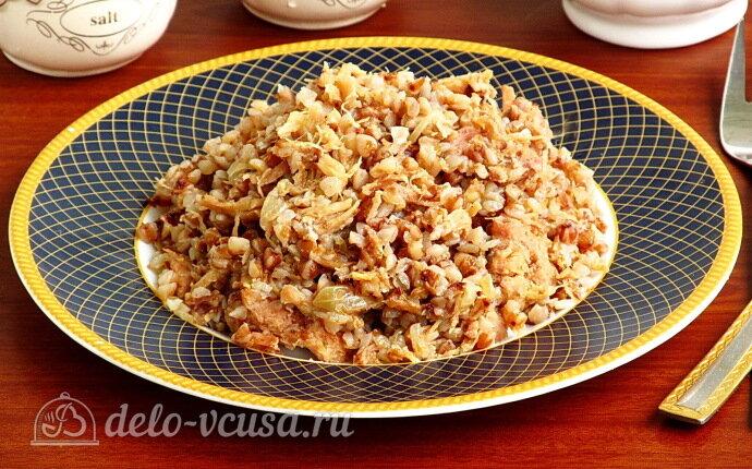 Гречневая каша с тушёнкой и луком: фото блюда приготовленного по данному рецепту