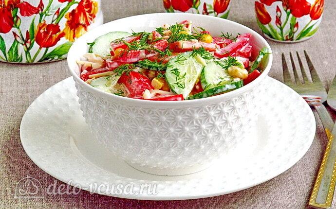 Овощной салат с кукурузой и сыром: фото блюда приготовленного по данному рецепту