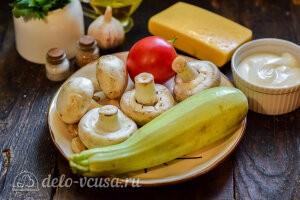 Кабачки «Летний каприз» с шампиньонами и сыром: Ингредиенты