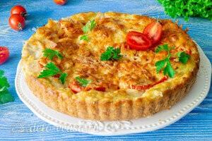 Кабачковая пицца с курицей в духовке готова