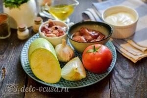 Куриные сердечки и печень с кабачками в сметане: Ингредиенты