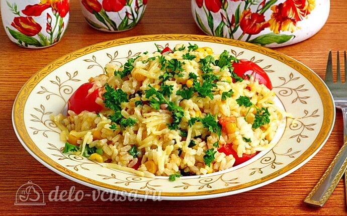 Рис с помидорами и кукурузой