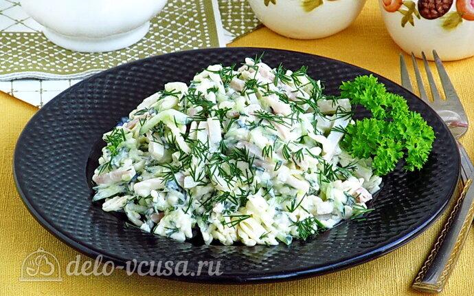 Рецепт салат из кальмаров с плавленым сыром и огурцами