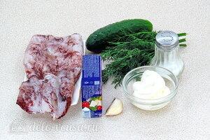 Салат из кальмаров с плавленым сыром и огурцами: Ингредиенты