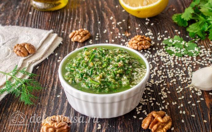 Рецепт соус из грецких орехов и свежей зелени