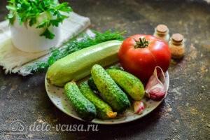 Хрустящие малосольные овощи в пакете: Ингредиенты