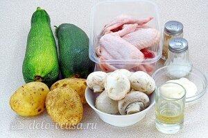 Куриные крылышки с овощами и шампиньонами в мультиварке: Ингредиенты