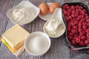 Песочный пирог с малиной в сметанной заливке: Ингредиенты