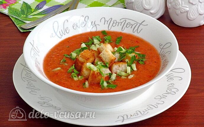 Простой томатный суп гаспачо
