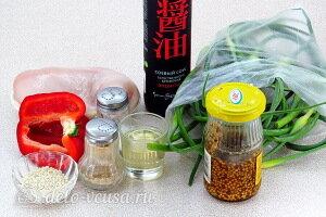 Жареные чесночные стрелки с курицей и перцем: Ингредиенты