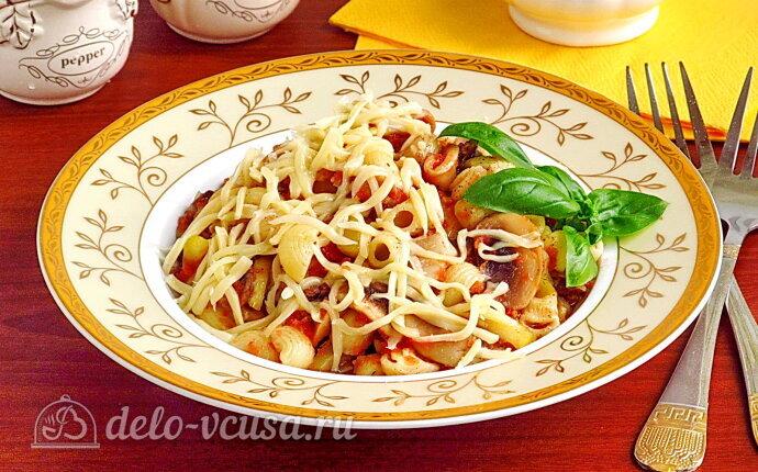Рецепт макароны с кабачками и шампиньонами