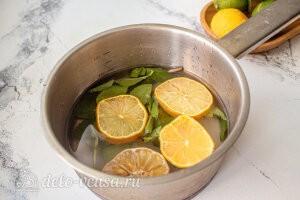 Варим сироп из воды, сахара, лимона и мяты