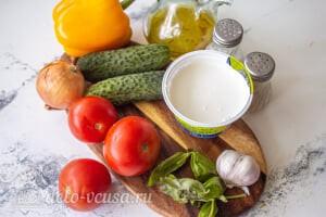 Овощной салат с творогом и базиликом: Ингредиенты