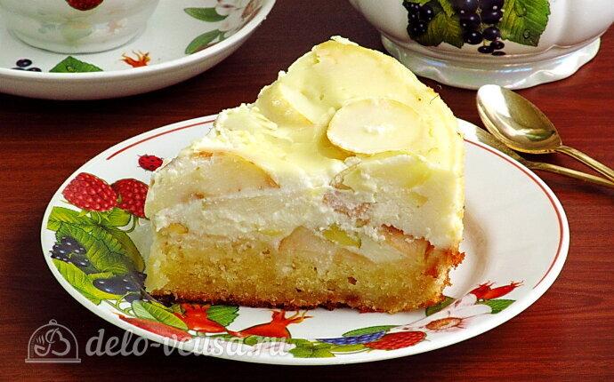 Яблочный пирог с творожной заливкой