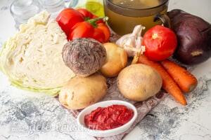 Болгарский борщ с баклажанами: Ингредиенты