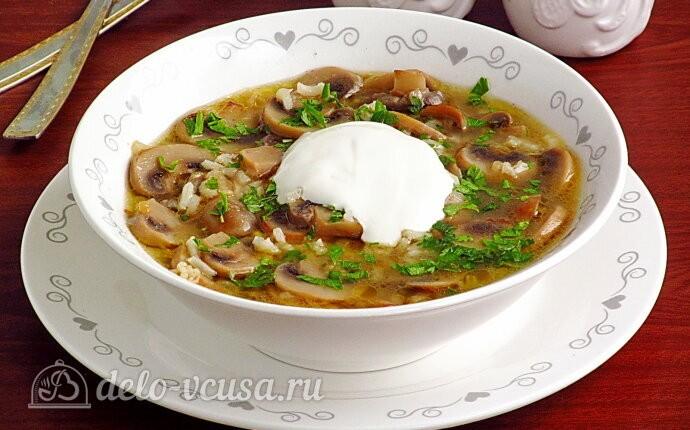 Грибной суп с рисом без картошки