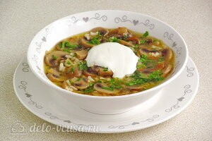 Грибной суп с рисом без картошки готов