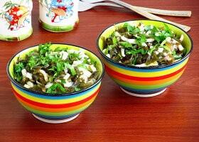 Рецепт салат из кальмаров с морской капустой
