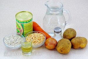 Гороховый суп «Солдатский» с тушенкой: Ингредиенты