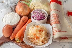 Пирог из лаваша с тушеной капустой: Ингредиенты