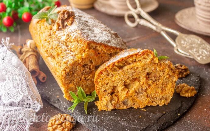 Пряный морковный кекс с орехами