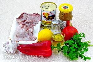 Салат из кальмаров с оливками и овощами: Ингредиенты