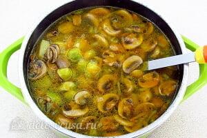 Грибной суп с брюссельской капустой: Варим суп до готовности