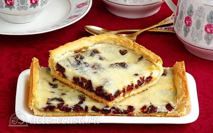 Песочный пирог с черносливом и сметаной